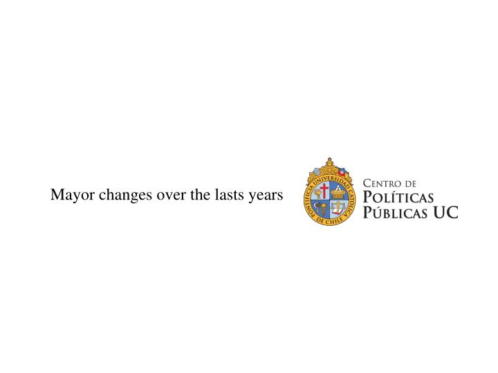 Mayor changes over the lasts years