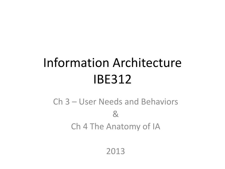information architecture ibe312 n.