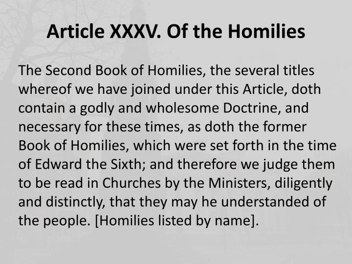 Article xxxv of the homilies