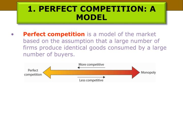 1. PERFECT COMPETITION: A MODEL