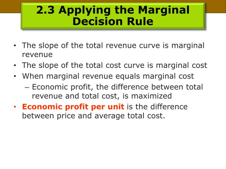 2.3 Applying the Marginal Decision Rule