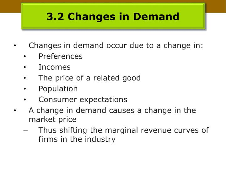 3.2 Changes in Demand