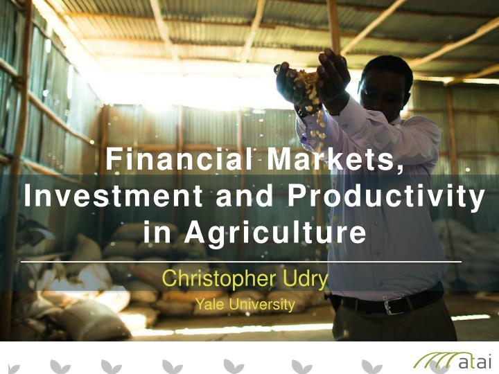 financial markets investment and productivity in agriculture n.