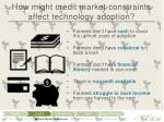 how might credit market constraints affect technology adoption