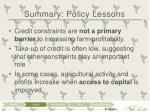summary policy lessons