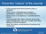 know the culture of the journal