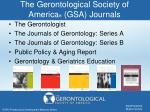 the gerontological society of america gsa journals