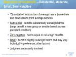 magnitude of net benefit substantial moderate small zero negative