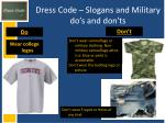 dress code slogans and military do s and don ts