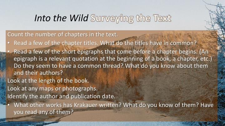 into the wild surveying the text n.