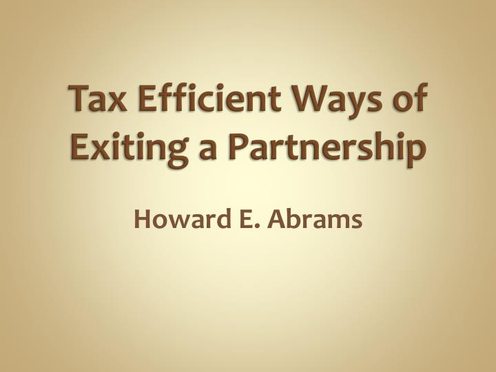 tax efficient ways of exiting a partnership n.