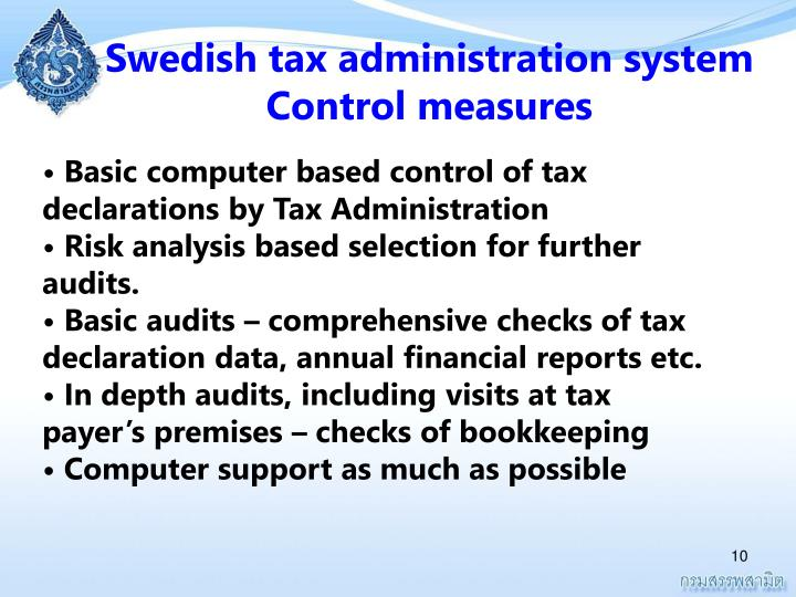 Swedish tax administration system                Control measures