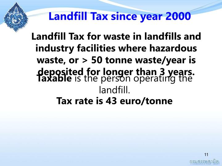 Landfill Tax since year 2000