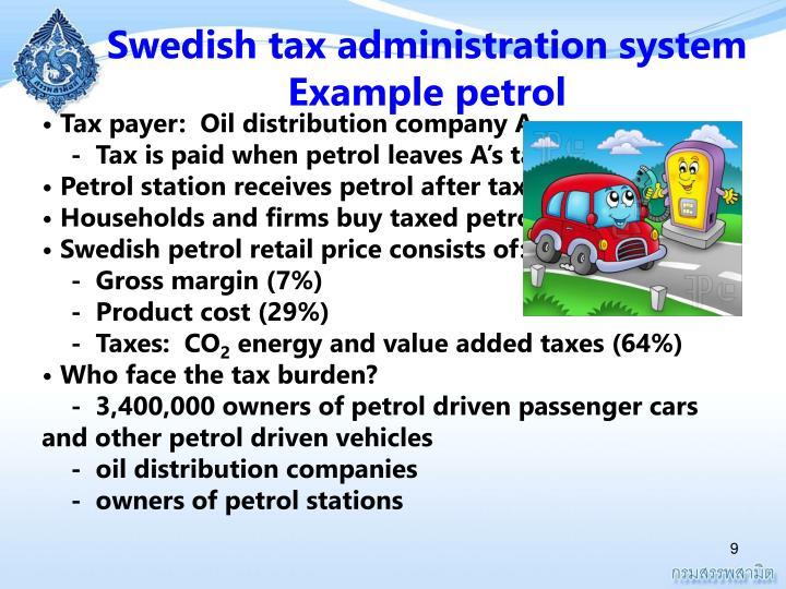 Swedish tax administration system Example petrol