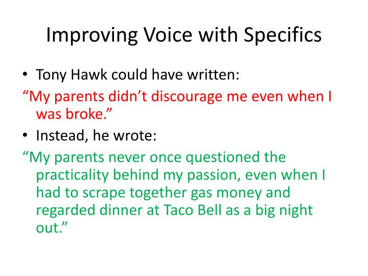 improving voice with specifics n.