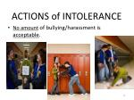 actions of intolerance