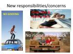 new responsibilities concerns