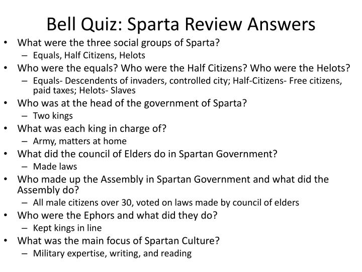 Bell quiz sparta review answers