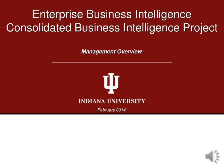enterprise business intelligence consolidated business intelligence project n.