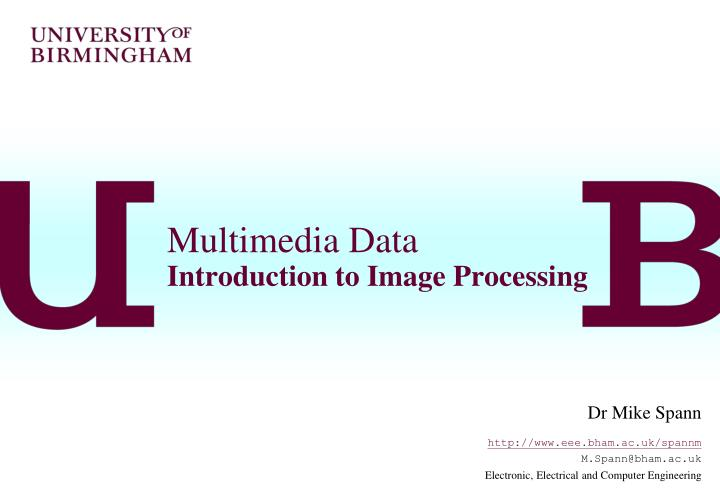 multimedia data introduction to image processing n.