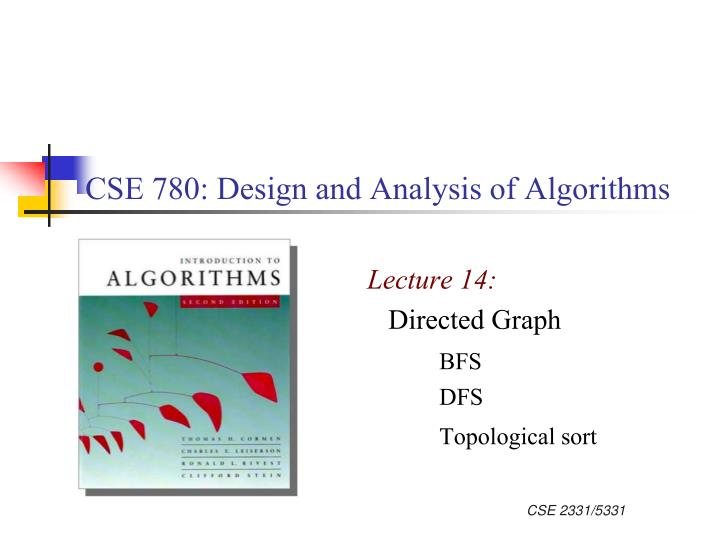 cse 780 design and analysis of algorithms n.