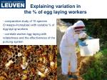 explaining variation in the of egg laying workers