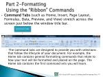 part 2 formatting using the ribbon commands