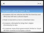 european cultural impact asia