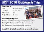 2010 outreach trip