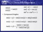 trig equations formulas to know