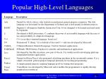 popular high level languages