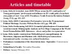 articles and timetable