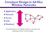 crosslayer design in ad hoc wireless networks
