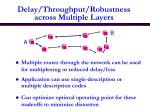 delay throughput robustness across multiple layers