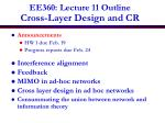 ee360 lecture 11 outline cross layer design and cr