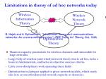 limitations in theory of ad hoc networks today