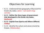 objectives for learning