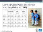 learning gaps public and private schooling pakistan 2012