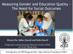 measuring gender and education quality the need for social outcomes