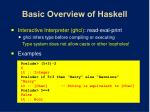 basic overview of haskell