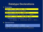datatype declarations