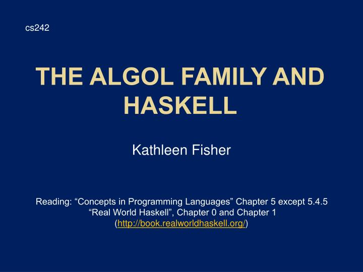 the algol family and haskell n.