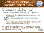 construire une strat gie au d part des pana et nama