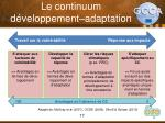 le continuum d veloppement adaptation