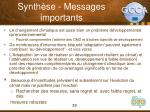 synth se messages importants