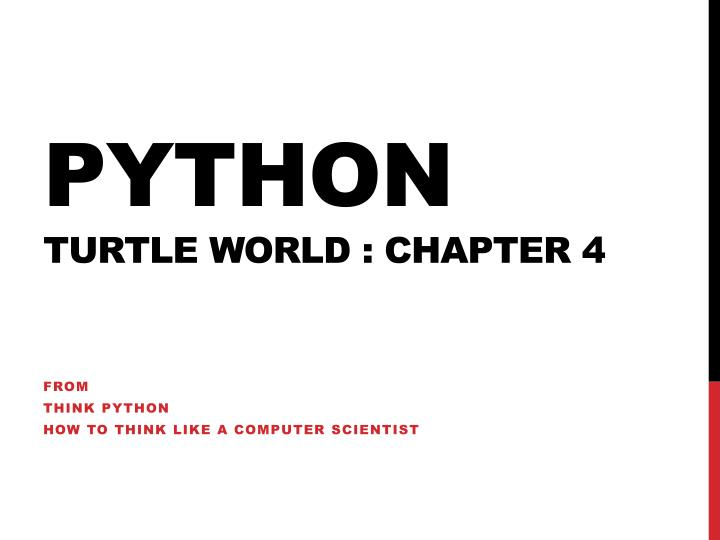 python turtle world chapter 4 n.