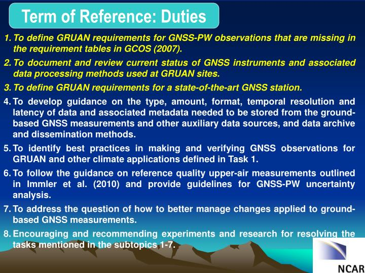 Term of Reference: Duties