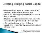 creating bridging s ocial capital