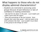 what happens to those who do not display admired characteristics