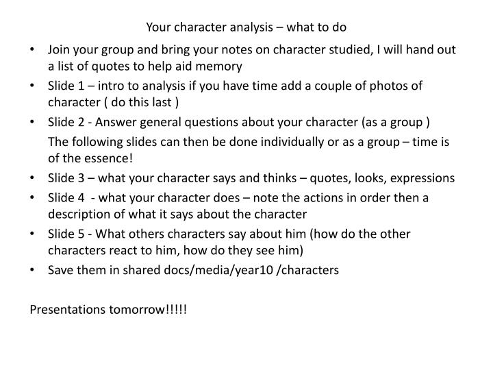 your character analysis what to do n.